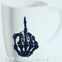 Skeleton middle finger coffee cup, coffee mug, middle finger