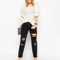 ASOS Original Mom Jeans in Washed Black with Extreme Rips and Busts