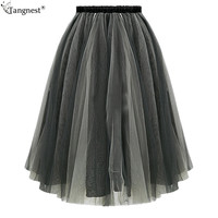 TANGNEST Plus Size Tulle Skirts 2017 Women Black Gray Coffee Mesh Umbrella Skirt Elastic High Waist Pleated Midi Skirt WQB852
