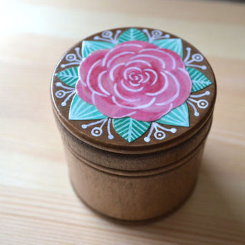 Rose wood box - handmade box - collage - one of a kind - valentines gift - wood box