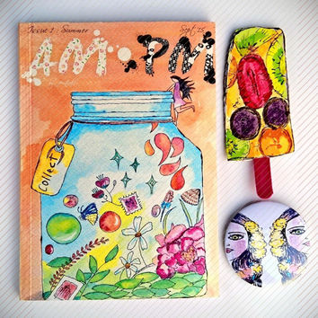 ZINE Pack | AM: PM Issue 1 - Summer | Magazine | Free Popsicle Book Mark | Free Sticker Sheets | A5 Size | Freebies | Free Pin |