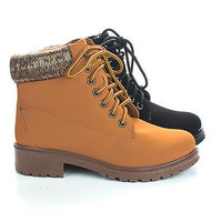 Trekking01X By Bamboo, Round Toe Sweater Knit Cuff Lace Up Lug sole Ankle Bootie