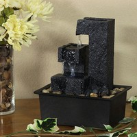Square Tiered Tabletop Water Fountain with LED Lights