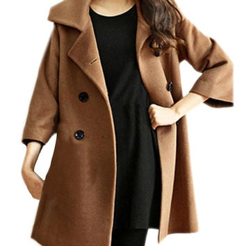 Women's Slim Asymmetric Peplum Hem Lapel Coat