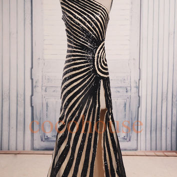 Fashion Champagne Long Prom Dresses With Black Strips,One shoulder Party Dresses, Formal Evening Gowns, Formal Wear, Wedding Party Dresses