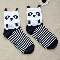 FunShop Woman's Bear and Panda Pattern Cotton Ankel Socks in 2 Colors Bear SK1030