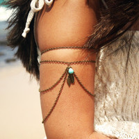 Armlet Slave Bracelet Arm Bracelet Hipster Bronze Chain Feather Charm Turquoise Bead Bohemian Drape Jewelry Piece Body