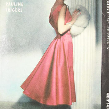 Vintage 50s Dress Pattern - McCalls 4257 - PAULINE TRIGERE - Misses' One-Piece Coctail Dress - Sz 18/Bust 38