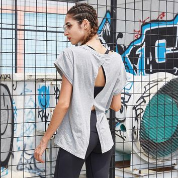 Hearuisavy Yoga Shirts Women Running Fitness T Shirts Breathable Sexy Back Athletic Sports Tops Grey Soft Cool Slim Sports Shirt
