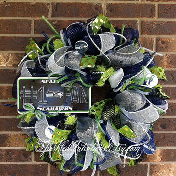 Seattle SEAHAWKS Deco Mesh Wreath