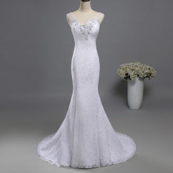Lace formal Crystal Beads Bridal Dress White Ivory Red Dresses Wedding Fishtail Mermaid Prom Gown