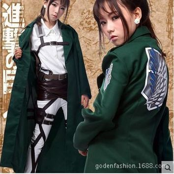 Cool Attack on Titan Anime  Survey Legion Costume Cosplay Green Clothing Cloak long manteau cartoon Japanese Eren Jaeger AT_90_11
