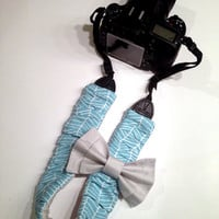 DSLR Camera Strap Cover Slipcover Ruched Herringbone and Silver Grey with Double Bow , Canon and Nikon Compatible