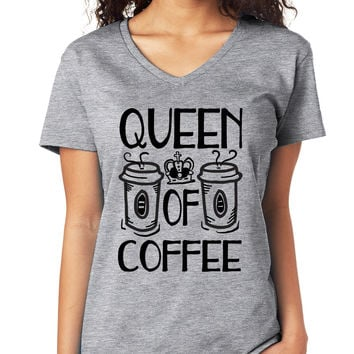 Queen Of Coffee V-Neck Tee