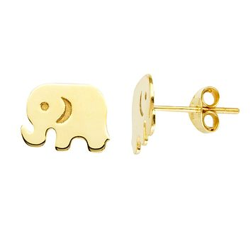 Amanda Rose Elephant Stud Earrings in 14k Yellow Gold
