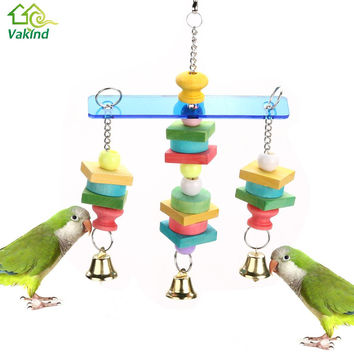 Pet Bird Bites Parrot Toy Chew Ball Toys For Parrots Swing Cage Hanging Cockatiel Toy  with bells  For Birds Pet Supplies