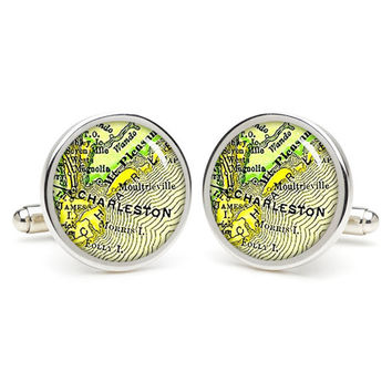 Vintage Charleston  map cufflinks , wedding gift ideas for groom,gift for dad,great gift ideas for men,groomsmen cufflinks,silver cufflinks,