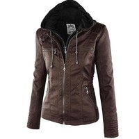Faux Leather Jacket Women's Hooded Motorcycle Jacket