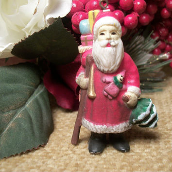Traditional Old World Woodland Santa Claus Christmas Tree Ornament Free Standing Handpainted Resin Figurine Vintage Holiday Home Decor