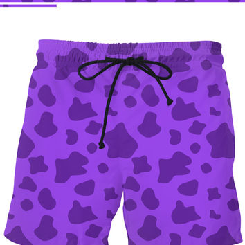 Purple cow pattern swim shorts, Violet color, vector ink splashes short pants design
