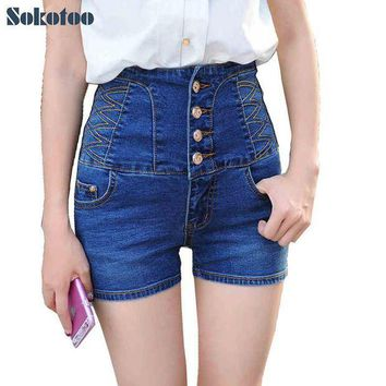 ESBONRZ Sokotoo Women's summer casual high waist buttons stretch denim shorts Lady's plus large size slim skinny jeans