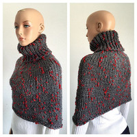 Knitted Sweater Cowl/ Handmade High Fashion Cowl/ Charcoal and Red Cowl