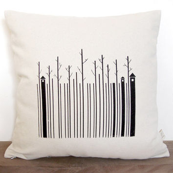 "Hand screen printed barcode pillow cover – canvas pillow cover – Size 17"" x 17"""