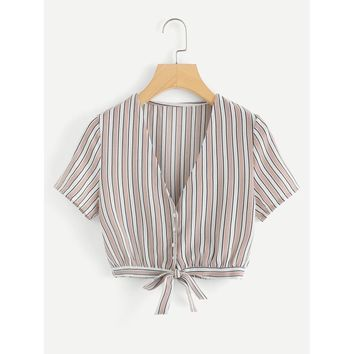 Striped Knot Hem Crop Top
