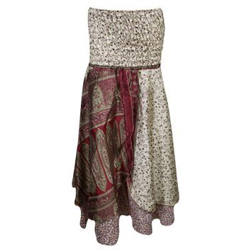 Mogul Womens Vintage Recycled Silk Sari Two Layer Versatile Dual Design Printed 2 In 1 Dress And Maxi Skirts - Walmart.com