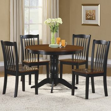 Home Elegance 2458 5 pc wayland collection antique oak and black finish wood round dining table set with wood seats