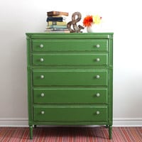 Green Tall Boy Dresser - Painted with Milk Paint
