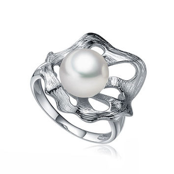 Sinya Natural freshwater pearl ring unique lotus leaf design 925 sterling silver women's wedding party Jewelry Hot sale tz09047r
