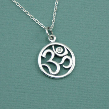 Diamond Om Necklace , sterling silver om jewelry , yoga necklace