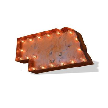 Nebraska Vintage Marquee Lights Sign (Rustic)
