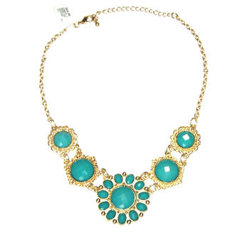 Green Necklace - Bib Necklace / Etruscan / Dramatic / Green / Turquoise / Gold / Statement /