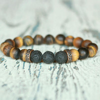 bracelet tiger eye jewelry Matte brown protection talisman gay Bracelet men's Gift for groom for him Elastic men Bracelet beaded wristband