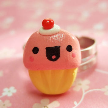 Kawaii Happy Cupcake Adjustable Ring  READY TO by TheHappyAcorn