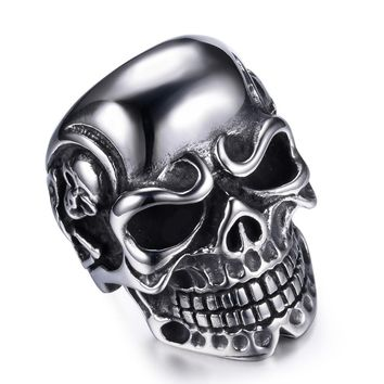 Stainless Steel Rings For Men Trendy Smooth Polishing Big Tripple Skull Ring Punk