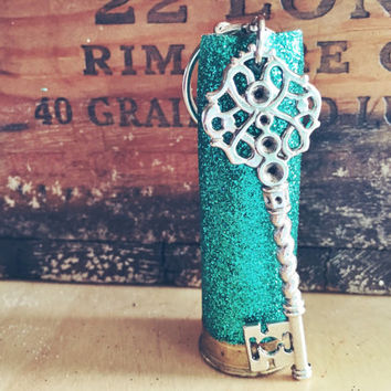 Teal / Turqouise Glitter 12 gauge Shotgun Shell Hunting Key Chain with Key Charm