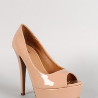 Dollhouse Patent Open Toe Stiletto Pump Color: Nude, Size: 10