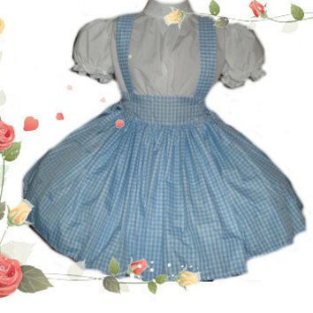 Dorothy Wizard of Oz Costume Blue and White Gingham Dress