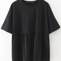 Elbow Sleeve Smock Blouse -SheIn(Sheinside)