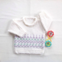 Baby Fair Isle sweater - Baby girl sweater - Baby shower gift - Baby knits - Infant knitted sweater - Baby white jumper
