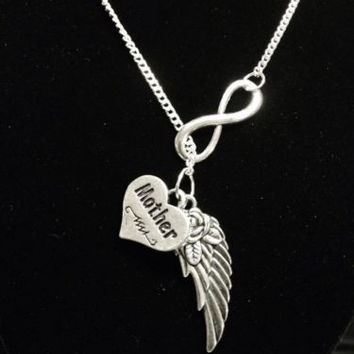 Infinity Guardian Angel Mother Mom Wing In Memory Heaven Y Lariat Necklace