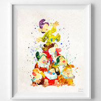 Seven Dwarfs Print, Snow White, Disney Print, Disney Princess, Watercolor, Painting, Wall Art, Illustration, Christmas Gift