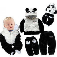 Boy's Long Sleeve Thick Fleece Panda Design Sweatshirt with Hat Cardigan and Trousers Winter Twinsets #01053143