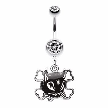 Cat Crossbones Dangle Belly Button Ring