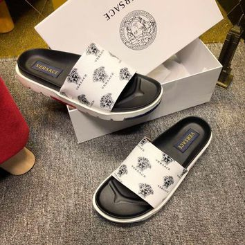 Versace White Women Men Casual Fashion Flat Sandal Slipper Shoes