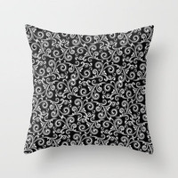 black and white swirls Throw Pillow by Sylvia Cook Photography | Society6