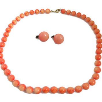Coral Bead Necklace, Earrings, Vintage Mid Century Orange Beaded Demi Parure, FREE SHIPPING